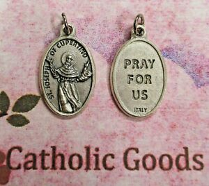 """St. Saint Joseph of Cupertino - Pray for Us -  Silver tone OX 1"""" Medal"""