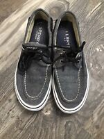 MENS SPERRY TOP SIDER GRAY BLACK CANVAS BOAT SHOES STS13143 SIZE 7.5M (t18)