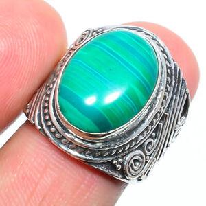 Malachite Gemstone 925 Sterling Silver Handmade Bali Ring s.6 W2436