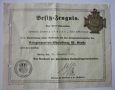 Orden, Kriegervereins Ehrenkreuz mit Urkunde                          (Art.2930)