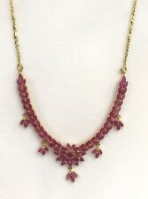 14k Solid Yellow Gold Flower Cluster Pendant Necklace/ Chain, Natural Ruby 12TCW