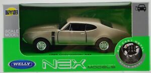 WELLY 1968 OLDSMOBILE 442 GOLD 1:34 DIE CAST METAL MODEL NEW IN BOX