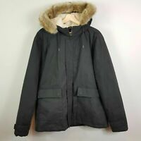 TOPMAN Mens Size XL Black Sherling Hooded Coat Jacket