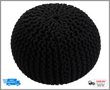 LARGE 50CM KNITTED POUFFE CHUNKY KNIT FOOT STOOL CUSHION MOROCCAN 100% COTTON