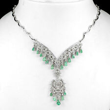 144 CTS!! LUXURIOUS! NATURAL AAA RICH GREEN BRAZILIAN EMERALD SILVER NECKLACE
