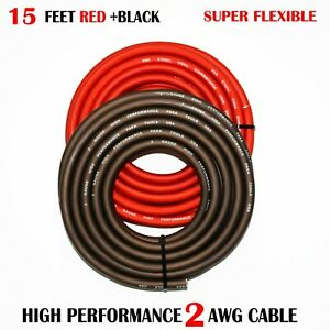2 Gauge Wire BLACK/RED , Amplifier Power/Ground  Amp Wire 15 Feet Cable Roll