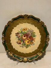 Florentine Toleware  Round Gold & Green, Bouquet Tray Gilt Wood,Italy made