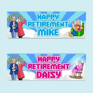 2 Personalised Happy Retirement Party Celebration Decoration Banners Posters