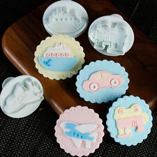 4x Train Car Fondant Cake Cutter Mold Cookie Sugarcraft Plunger Mould Decorating