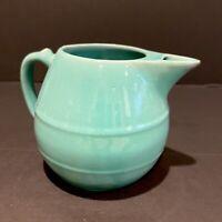 Vintage Meyers California Rainbow Pottery Pitcher Jade/teal Green