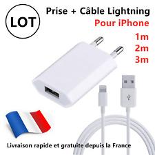 CHARGEUR SECTEUR USB PRISE CABLE USB POUR IPHONE 6S/7/8/XS MAX/XR/11/Pro