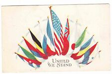 United We Stand -13 Country Flags -1917 Postcard