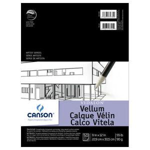 DIXON TICONDEROGA/CANSON 100510983 VIDALON VELLUM TAPE BOUND 50 SHEETS PAD 9X12