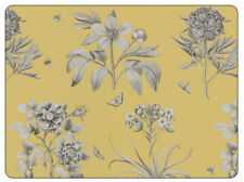 Sanderson Pimpernel Etchings & Roses Yellow Placemats Table Mats Set of 6 New