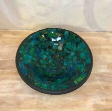 Turquoise Round 26cm Mosaic Handmade Ceramic Glass Tile Bowl Dish Decoration