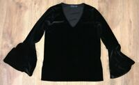 POLO Ralph Lauren ladies womens black velour v-neck shirt top blouse size XS