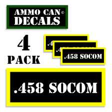 ".458 SOCOM Ammo Can Labels Ammunition Case 3""x1.15"" sticker decals 4 pack BLYW"