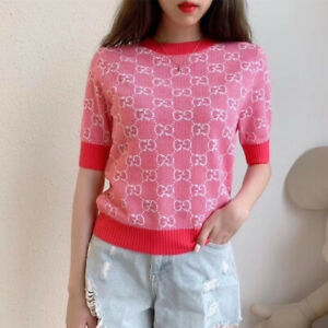Authentic New Gucci Short Sleeve Sweater Women's Pink GG Logo Large