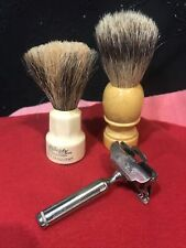 Lot Of Old Shaving Brushes And Razors