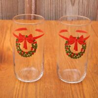 2 Clear With Wreaths Glass Tumblers Water Glass Cup Christmas