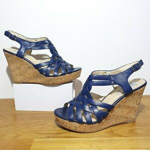 RRP £89 BERTIE Navy Blue Leather Gladiator Strappy Wedges Sandals Heels Size 7