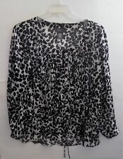GEORGE 2 X PULLOVER BLACK & WHITE~SHEER BLOUSE~POLYESTER
