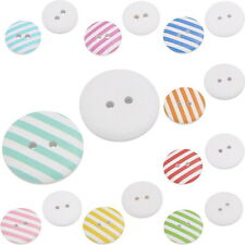 30 PRETTY STRIPED PAINTED WOOD BUTTONS 15mm Sewing~Embellishment~Knitting (40H)
