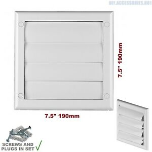 Gravity Flaps 190 x 190mm Louvre Cover Air Vent Grill White Ventilation Grille