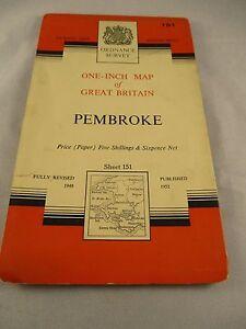 Vintage Ordnance Survey Sheet - Pembroke - No. 151  dated 1952