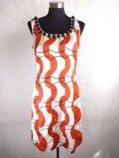 Phoebe Couture Dress 10 White Orange Black Stitching Lined Silk Blend Sleeveless