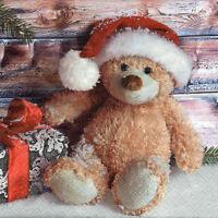 4 lose Servietten Motivservietten Serviettentechnik Weihnachten Teddy (246)