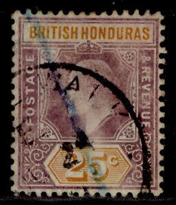 BRITISH HONDURAS EDVII SG89, 25c dull purple & orange, USED. Cat £65.