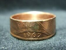 Handmade UK coin ring - 1967, size Y (US 12), (R806)
