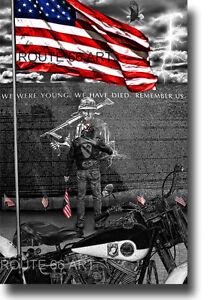 HARLEY DAVIDSON PANHEAD MOTORCYCLE VIETNAM VETERANS MEMORIAL WALL ART PRINT