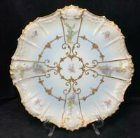 "Lovey 12"" Antique Limoges AK CD Gilted Gold French Floral Flowers Plate Platter"