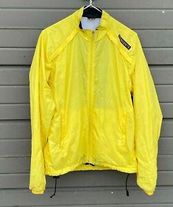 Descente Yellow Windbreaker Jacket Mens Large Vintage Bicycle Cycling Jacket