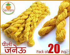 Janvai Janev Janeu Yagyopavit ✓Yellow Sacred Holi Thread 20 Pcs ✓Long Wear Size