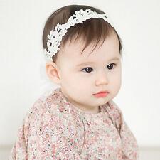 Bébé filles bandeau floral blanc bandeau réglable bandeau de fleurs en dentelle