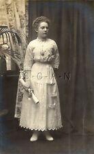 Original Vintage 1904-18 AZO RPPC- Young Lady- Diploma- Watch- Glasses- Dress