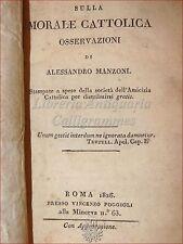 MANZONI Alessandro OSSERVAZIONI sulla MORALE CATTOLICA - Edizione Originale 1826