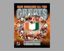 Miami Hurricanes Football ALL-TIME GREATS Poster Print JIM KELLY, RAY LEWIS, +++