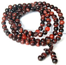 6mm Red Tiger's Eye 108 Tibet Buddhist Mala Prayer Bead Amulet Bracelet Necklace