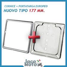 CORNICE + PORTATARGA EUROPEO 177 mm IN FERRO CROMATO per VESPA, MOTO e SCOOTER