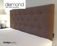DIAMOND LOW RISE Upholstered Bedhead for Queen Size Ensemble - CHOCOLATE