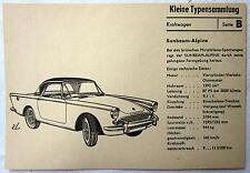 DDR Kleine Typensammlung Kraftwagen - Sunbeam-Alpine