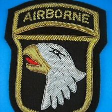 LARGE U.S. ARMY 101 AIRBORNE SCREAMING EAGLES BULLION POCKET PATCH 10cm x 7.5cm