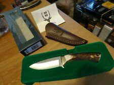 "61/8"" OVERALL MUELA COLIBRI FIXED BLADE KNIFE STAG HANDLE 440C BLADE LEATHER SHE"