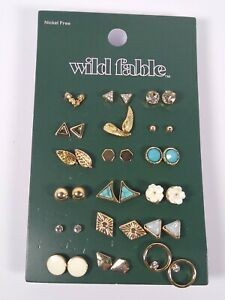 18 Earrings Set Gold Tone Nickel Free Costume Jewelry Ball Studs + Wild Fable™