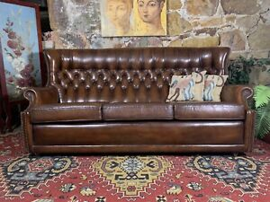 Vintage Chesterfield English Leather Hi-Back 3 Seater Sofa-Lounge~Chair-