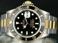 Rolex Men's 40mm Submariner 16613 LN Two-Tone Black Dial/Insert Box and Papers